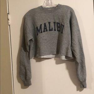"brandy Melville j galt cropped ""Malibu"" sweatshirt"